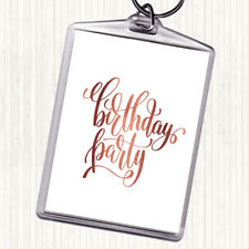 Rose Gold Birthday Party Quote Bag Tag Keychain Keyring