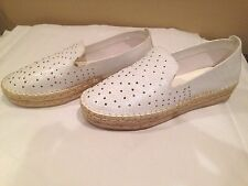 Rock & Republic New  White Loafers Flat  Silver Studs Size7.5M