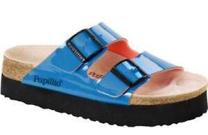 Papillio Birkenstock Arizona Platform Sandals Plateau Petrol Wedge Patent EU37