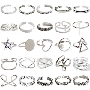 Vintage S925 Silver Korea Band Ring Adjusatble Differeent Style Girls Rings
