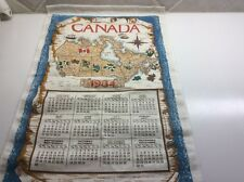 Vintage Linen Calendar Kitchen Tea Towel: 1984 Canada Map English French