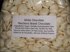 1 LB BAG MERCKENS WHITE CHOCOLATE MELTING WAFERS CANDY POPS PRETZELS FREE SHIP!!