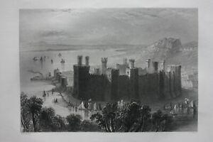 CAERNARFON CASTLE, WALES, antique Victorian print, Finden, c.1841