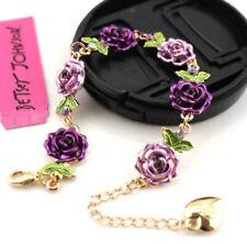 Fashion Jewelry Betsey Johnson Rhinestone purple roses sweet Golden Bracelets