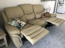 2 x Near new genuine Milano Italian leather recliner 3 seater sofas