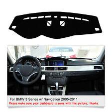 Black Dashboard Mat Dash Mat For BMW 3 Series w/ Navigation 2005-2011 Sun Cover