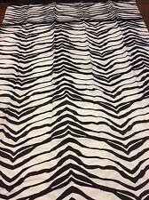 Zebra Border Fabric Shower Curtain Animal Print Black & White Beautiful