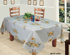 """Creative Linens Sunflower Tablecloth Embroidered Cutwork Table Cloth 70x104"""" 12"""