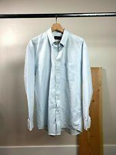ALFRED DUNHILL Men's Light Blue Cotton Logo Shirt Neck Size 17
