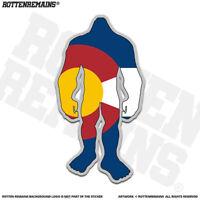 Colorado State Flag Bigfoot Decal Sticker CO Sasquatch Big Foot Skunk Ape apr
