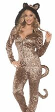 Sexy Leopard Jumpsuit Jumper Furry Spot Cat Costume Adult Womens - S 6-8 -