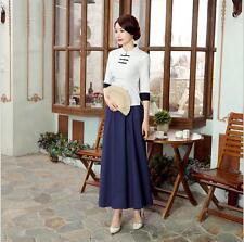 new blue chinese women's Linen/cotton Tops/ T-shirt and long skirt  Sz: S- 2XL