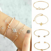 4Pcs/Set Girls Gold Triangle Knot Love Cactus Opening Bangle Chain Bracelet New