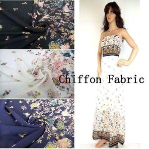 1M Flower Butterfly Print Semi-Sheer Chiffon Fabric DIY Sewing Cloth Silky Thin