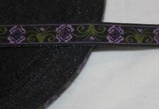 "4.5 yards black olive lavender plum woven jacquard sewing ribbon 1/2"" wide"