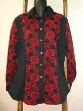 WRANGLER Western Wear for Women~LONG SLEEVE SHIRT~Red Black~COTTON~Button Down~L
