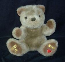 "11"" VINTAGE TEDDY WARM HEART BROWN BEAR STUFFED ANIMAL PLUSH TOY HEAT MICROWAVE"