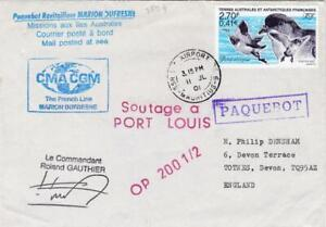 FRENCH ANTARCTIC STAMP TAAF ON MARITIME COVER MAURITIUS 2001 MARION DUFRESNE