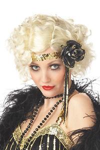 1920's Jazz Baby Curly Flapper Costume Blonde Wig Twenties 20s Fancy Dress  NEW