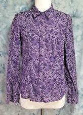 Michael Kors Womens sz M Purple Gray Floral Paisley Button Down Shirt