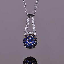 Sphere Blue Sapphire Pendant 14k White/Yellow Gold