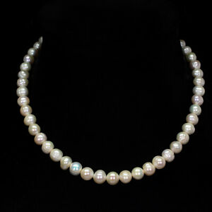 Baroque White Black Pearl 10x9mm 925 Sterling Silver Necklace 15.5 Inches