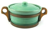 Bauer Pottery Ring Turquoise COVERED CASSEROLE w/ Wood Stand Vintage Mid Century