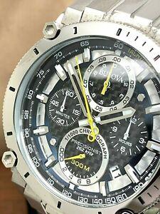 Bulova Men's Watch 96B175 Precisionist Black Dial 46.5mm Chronograph S. Steel