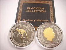 1 OZ SILVER COIN PERTH KANGAROO COIN BLACK RUTHENIUM-24KT BLACKOUT COLLECTION