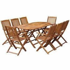 vidaXL Solid Acacia Wood Outdoor Dining Set 9 Piece Garden Patio Table Chair