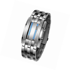 Mens LED Watches Binary LED Digital Waterproof Wrist Watches Stainless Steel Mil