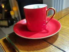 VICTORIA CZECHOSLOVAKIA SMALL DEMITASSE CUP & SAUCER RED COLOR