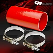 "4""4-PLY STRAIGHT TURBO/INTAKE/EXHAUST 8""L SILICONE COUPLER HOSE+T-CLAMPS RED"