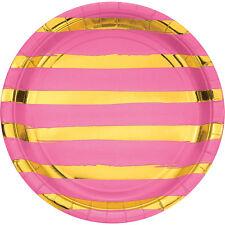 8 X De Lujo Rosa Y Oro Metálico Brillante Lámina Raya Placas De Papel Fiesta Boda Gallina