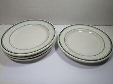 Vtg STERLING Restaurant Ware Green Stripe  Bread Side Plate Lot of 4 Vitrified