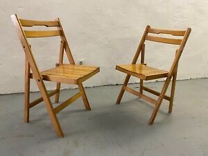 Pair of Vintage Folding Chair Space Age Mid Century Design Wooden Atomic Retro