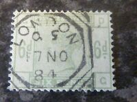 GB QV POSTAGE REVENUE STAMP SG194 6D 1884 DULL GREEN VERY FINE-USED