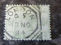 GB QV POSTAGE REVENUE STAMP SG194 6D 1884 DULL GREEN VERY FINE USED