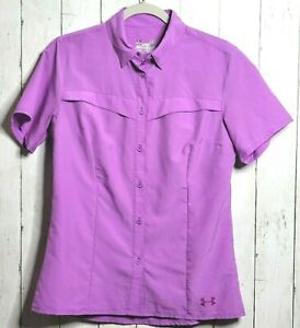 Under Armour Women Small Semi Fitted Vented Shirt Lilac Button Front Fishing