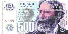 Mujand Republic Banknote 500 Zilchy 2013 Unc Specimen, Private, Note