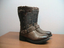 Womens 7.5 US, 38.5 EU ASH Trash Taupe Leather Silver Studded Boots, MSRP $395