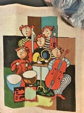 NEEDLEPOINT Canvas LEE RETRO 60s 70s Musicians Band Music 12 ct wh613 EC yarn