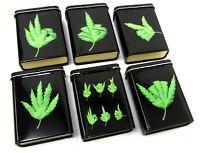 Funny Leaf Print Metal Tin Case Tobacco Storage Box Holder Pocket Roll Up Black