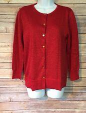 Nue Options Button Up Cardigan Sweater Size Medium Red Metallic Valentine's Day