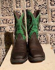 Mens Ariat WorkHog VentTek Square Toe Western Boot Size 12 D Brown/Green