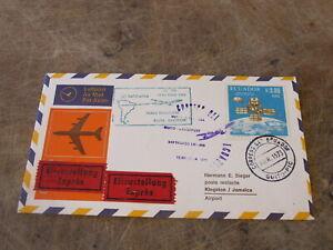 1973 Ecuador cover - Lufthansa route / Flight - Quito to Kingston
