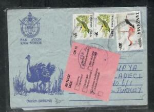 TANZANIA  COVER (P3008B) BIRD AEROGRAM+BIRD 100/-/10/-+150/-/9/-X2 TO TURKEY RET