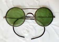 Antique Safety Glasses Welding Green Round Steampunk Metal Wizard of Oz Like