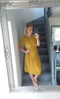 WOMENS MUSTARD VTG RETRO BUTTON UP BOLD ABSTRACT 90'S FLOWY TEA DRESS UK 14