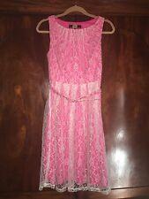 Eva Franco Cream Lace Overlay Pink Dress Pleated 4 Anthropologie EUC